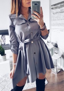 Dark Grey Turndown Collar Irregular Belt Single Breasted Fashion Shirt Mini Dress