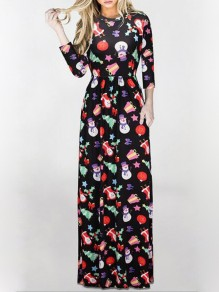 Multicolor Floral Print Pockets Round Neck Long Sleeve Fashion Maxi Dress