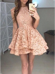Pink Lace Pleated Sleeveless Fashion Cocktail Party Mini Dress