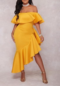 Yellow Ruffle Irregular Off Shoulder Backless High-Low Banquet Elegant Maxi Dress