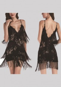 Black Patchwork Sequin Spaghetti Strap Backless Tassel Fringes Bodycon Prom Cocktail Party Mini Dress