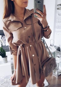 Dark Khaki Irregular Sashes Buttons Pockets Swallowtail Fashion Mini Dress