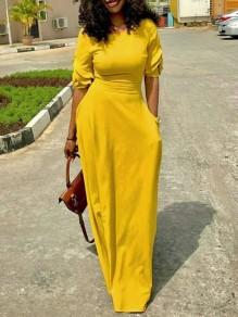 5365cd93aead7 Yellow Pockets Zipper Ruffle Round Neck Fashion Maxi Dress