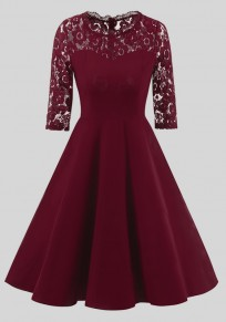 Wine Red Patchwork Lace Draped Round Neck Elbow Sleeve Midi Dress
