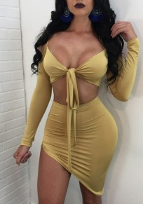 Yellow Bow Irregular Cut Out 2-in-1 Bodycon Homecoming Party Long Sleeve Midi Dress