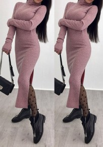 Red Cut Out High Neck Long Sleeve Fashion Midi Dress