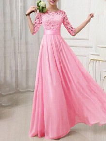 Rose Red Patchwork Lace Round Neck Prom Evening Party Bridemaid Prom Maxi Dress