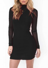 Black Plain Grenadine Cowl Neck Long Sleeve Mini Dress