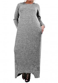 Grey Draped Pockets Plus Size Round Neck Long Sleeve Maxi Dress