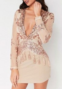 Apricot Patchwork Sequin Tassel Plunging Neckline Bodycon Fashion Mini Dress