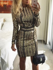 Champagne Gold Sequin Chain Lace-up Long Sleeve Bodycon Club Party Mini Dress