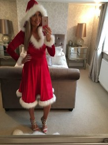 Red Patchwork Fur Hooded Long Sleeve Fashion Santa Christmas Party Midi Dress