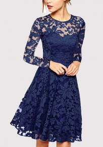 Sapphire Blue Patchwork Lace Draped Long Sleeve Fashion Midi Dress