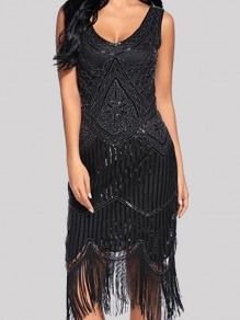 Black Patchwork Tassel Studded Sequin Prom Evening Party Maxi Dress