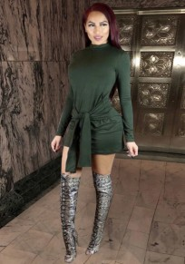 Green Sashes Zipper Bodycon Band Collar Party Mini Dress