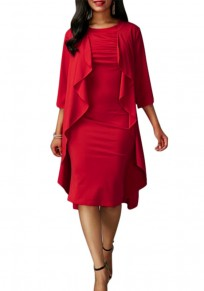 Red Ruffle Irregular Elbow Sleeve Round Neck False 2-in-1 Casual Dress