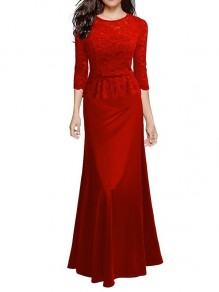 Red Lace Patchwork Elbow Sleeve Round Neck Elegant Maxi Dress