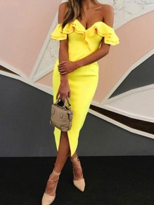Yellow Ruffle Off Shoulder Boat Neck Backless Slit Bodycon Party Midi Dress