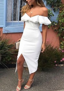 White Ruffle Off Shoulder Boat Neck Backless Slit Bodycon Party Midi Dress