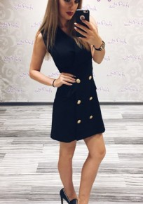 Black Zipper Buttons Down V-neck Sleeveless Homecoming Cute Mini Dress