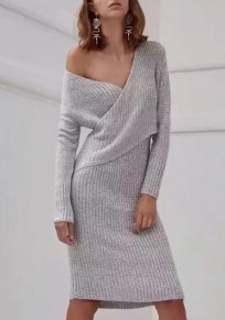 1db723dea97 Grey Wrap Irregular Bodycon One-shoulder Long Sleeve V-neck Elegant Casual  Knit Jumper