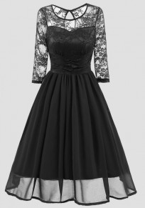 Black Patchwork Lace Round Neck Long Sleeve Vintage Midi Dress
