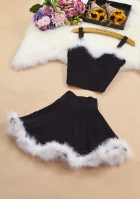 Black Patchwork Fur Condole Belt 2-in-1 V-neck Sweet Mini Dress