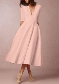 Pink Pleated Plunging Neckline Elbow Sleeve Elegant Prom Evening Party Maxi Dress