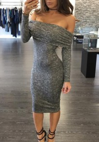 Grey Cut Out Tie Back Backless Off Shoulder Long Sleeve Midi Dress