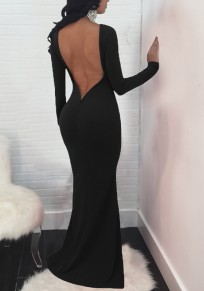 Black Draped Backless Mermaid Round Neck Long Sleeve Banquet Party Maxi Dress