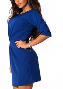 Blue Pockets Ruffle Zipper Round Neck Fashion Mini Dress