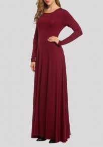 Wine Red Draped Bow Backless Round Neck Long Sleeve Prom Evening Party Maxi Dress