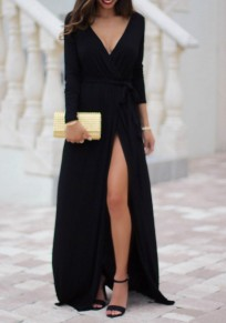Black Draped Sashes Side Slit Plunging Neckline Long Sleeve Maxi Dress