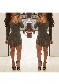 Grey Cut Out Bright Wire V-neck Long Sleeve Mini Dress