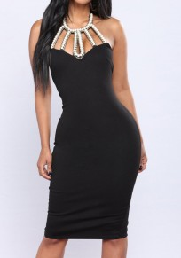 Black Patchwork Pearl Backless Lace-up Halter Neck Slit Sleeveless Bodycon Midi Dress