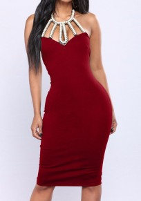 Burgundy Patchwork Pearl Backless Lace-up Halter Neck Slit Sleeveless Bodycon Midi Dress