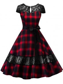Red Plaid Lace Draped Belt Backless Pleated Audrey Hepburn Vintage Party Midi Dress