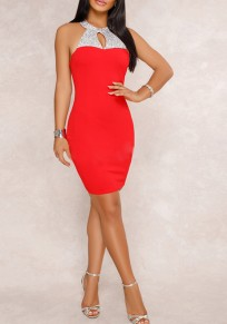 Red Rhinestone Sequin Tie Back Cut Out Halter Bodycon Round Neck Party Mini Dress