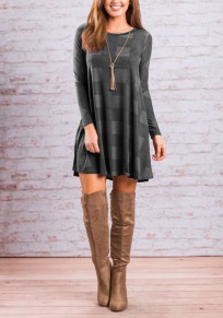 Grey Plaid Pattern Draped Round Neck Long Sleeve Casual Oversized Mini Dress