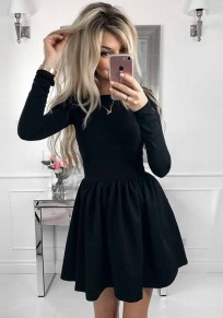 Black Pleated Round Neck Long Sleeve Tutu Homecoming Party Cute Mini Dress