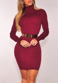 Burgundy Striped Bodycon Long Sleeve Plus Size Clubwear Party Mini Dress