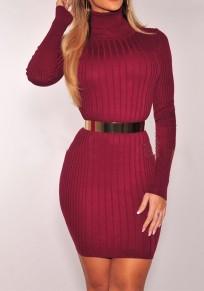 Wine Red Plain Belt High Neck Long Sleeve Mini Dress