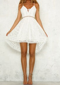 492fe5293af White Lace Spaghetti Strap Drawstring Lace-Up Deep V-neck Sweet Homecoming  Party Midi