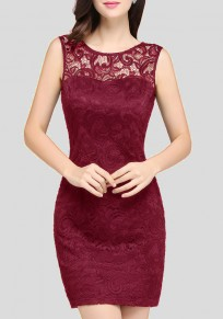Wine Red Patchwork Lace Backless Sleeveless Elegant Bodycon Party Mini Dress