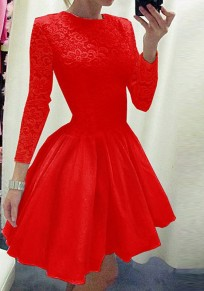 Red Patchwork Lace Pleated Long Sleeve Tutu Homecoming Party Sweet Cute Mini Dress