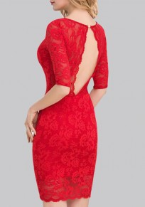 Red Cut Out Backless V-neck Elbow Sleeve Party Bodycon Lace Mini Dress Mini Dress