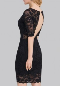 Black Cut Out Backless V-neck Elbow Sleeve Party Bodycon Lace Mini Dress Mini Dress