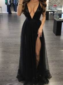 Black Patchwork Grenadine Sequin Cross Back Backless Plunging Neckline Gowns Party Maxi Dress