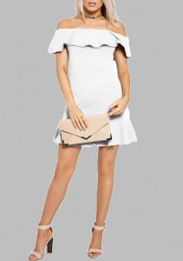 White Ruffle Pleated Bodycon Off Shoulder Wedding Guest Formal Cute Party Mini Dress