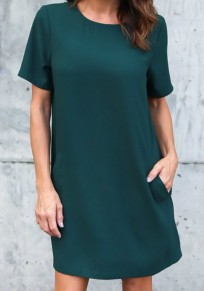Dark Green Pockets Round Neck Short Sleeve Casual Mini Dress